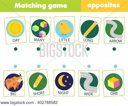 Matching Game. Educational Children Activity. Match Opposites. Activity For Pre Scholl Years Kids An