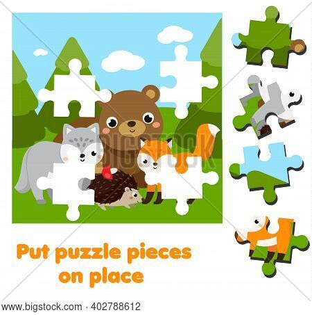 Cartoon Forest Animals. Jigsaw Puzzle For Toddlers. Match Pieces And Complete Picture. Educational G