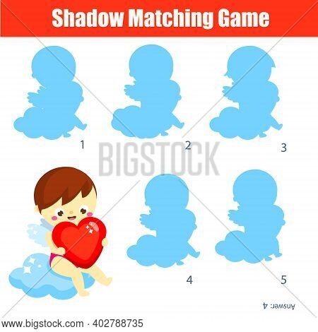 Shadow Matching Game. Cute Cupid. Kids Activity. Valentines Day Theme Fun Page For Toddlers