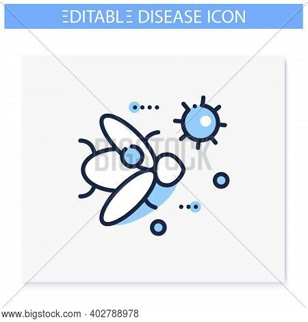Insect Infestation Line Icon. Disease Spreading Concept. Covid19, Virus Disease Mutation And Transmi