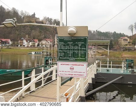 Rathen, Saxon Switzerland, Germany - March 26, 2018: The Rathen Ferry Is A Passenger Cable Ferry Tha