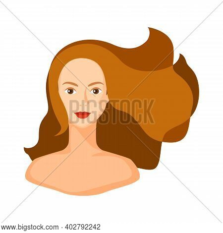 Illustration Of Girl With Brown Hair. Woman Silhouette Concept Emblem For Beauty Or Hairdressing Sal