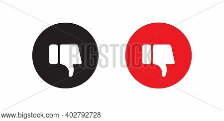 Dislike Button Icon Vector In Flat Style. Thumb Down Symbol Illustration