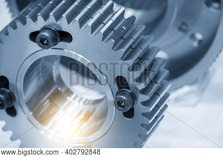 Close-up Scene Of Transmission Pinion Gear Parts . The Abstract Scene Of Gear Part Of Automotive Tra