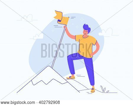 A New Milestone Reached. Flat Vector Illustration Of Young Smiling Man Is Standing On The Top Of A M