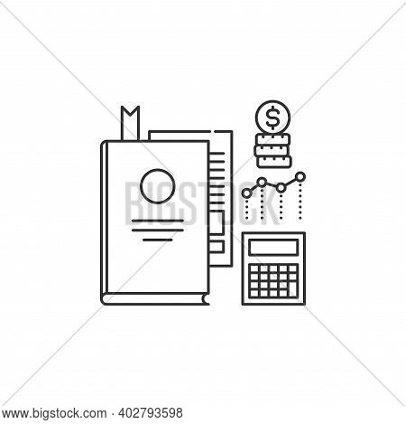 Report And Financial Statements Black Line Icon. Bookkeeping And Accounting. Pictogram For Web Page,