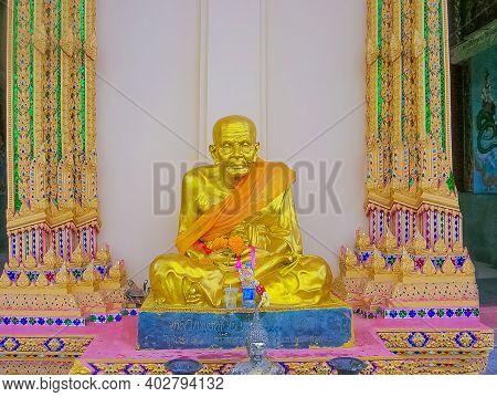 Koh Samui, Thailand - June 20, 2008: Golden Buddha In Temple On Koh Samui In Thailand.