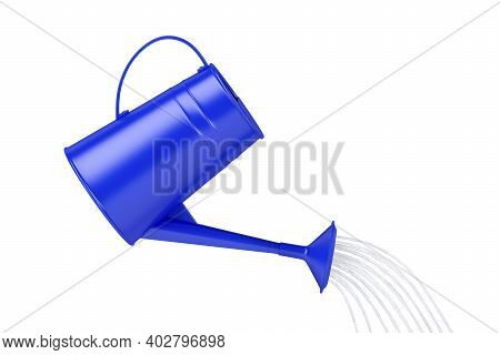 Pouring Water From A Blue Watering Can. 3d Illustration