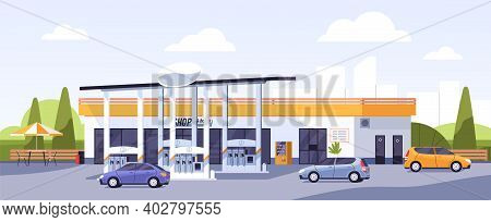 Facade Of Modern Gas Station Building With Cars Arriving And Leaving For Refueling Or Filling With P
