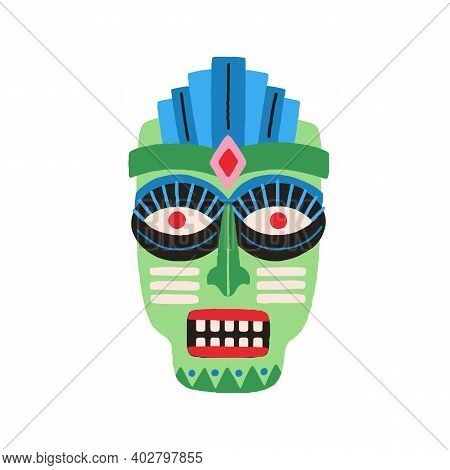Funny Ethnic Zulu Tribal Mask Showing Teeth In Anger. Dreaded Ancient Ritual Symbol Or Souvenir. Dra