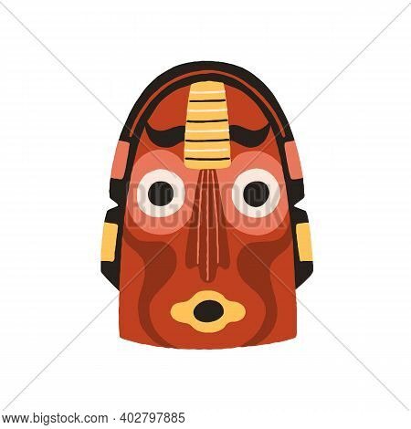 Funny Ethnic Indian Tribal Mask With Round Eyes And Open Mouth. Dreaded Ancient Ritual Symbol Or Sou