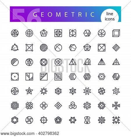 Set Of 56 Geometric Abstract Symbols Line Icons Suitable For Esoteric, Alchemy, Sacred, Tribal And A