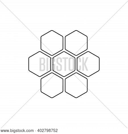 Honey Comb Icon. Honey Comb Line Symbol. Vector Illustration Isolated On White.