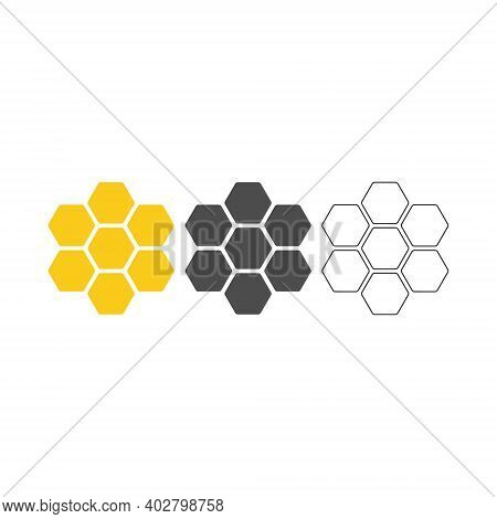 Honey Comb Icon Set. Honey Comb Symbols Collection. Vector Illustration Isolated On White.