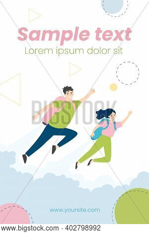 Happy Man And Woman Flying With Jet Pack. Metaphor Of People Using Boosters For Fast Growth. Vector