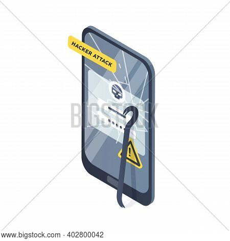 Concept Of Smartphone Under Hacker Attack, Phishing And Personal Data Theft. Accident Of Cybercrime,