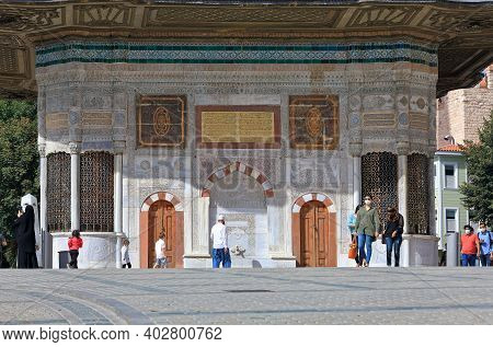 Istanbul, Turkey - October 05, 2020. Fountain Of Sultan Ahmed Iii In The Great Square, Built In 1728