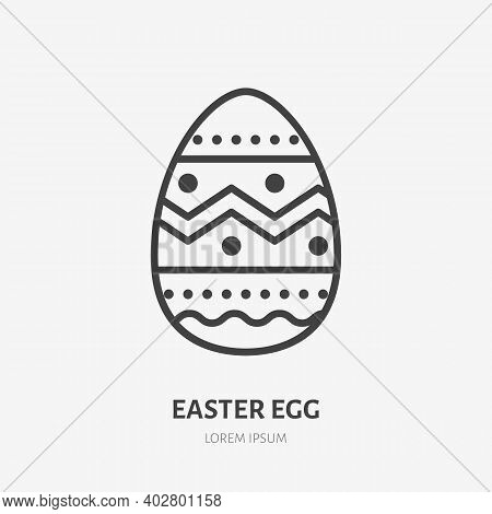 Easter Egg Line Icon. Vector Outline Illustration Of Traditional Decoration. Black Color Thin Linear