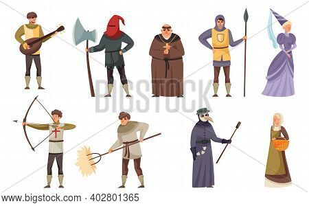 Medieval People Characters With Minstrel Holding Lute, Headsman And Monk Vector Illustration Set