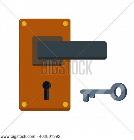 Door Handle. Lock And Keyhole With A Key. Opening And Closing. The Doorway And Entrance Element
