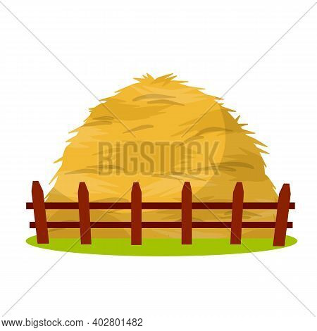 Sheaf Of Wheat Ears. Rural Crop With Wooden Fence. Autumn Rustic Element. Cartoon Flat Illustration.