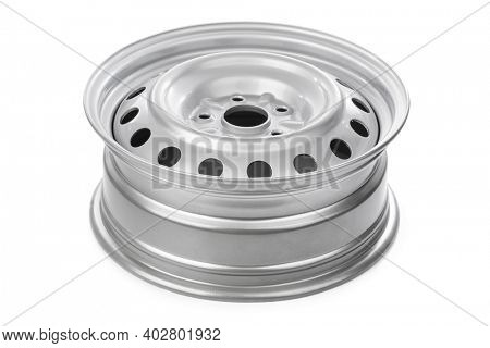 Steel car rim isolated on white background