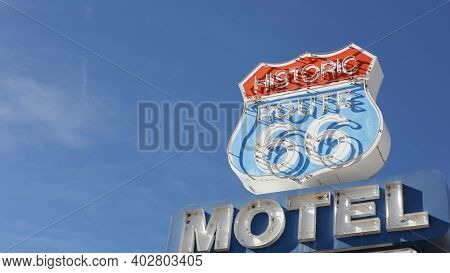 Motel Retro Sign On Historic Route 66 Famous Travel Destination, Vintage Symbol Of Road Trip In Usa.