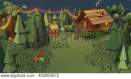 Wooden House From Magical Fairy Tale In Forest. 3d Illustration Of Surreal Baba Yaga Hut On Chicken