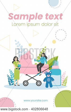 Happy Mother, Babysitter And Baby Near Carriage Isolated Flat Vector Illustration. Cartoon Women Car