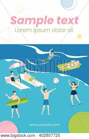 Happy Young People Enjoying Leisure On Beach. Crowd, Tourist, Sea, Seaside Flat Vector Illustration.