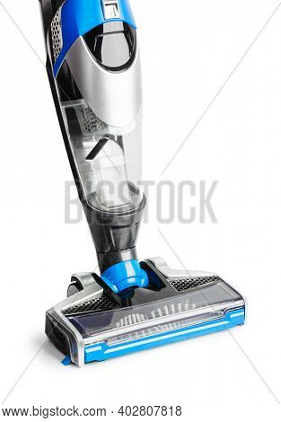 Cordless handheld vacuum cleaner in charging holder isolated on white background