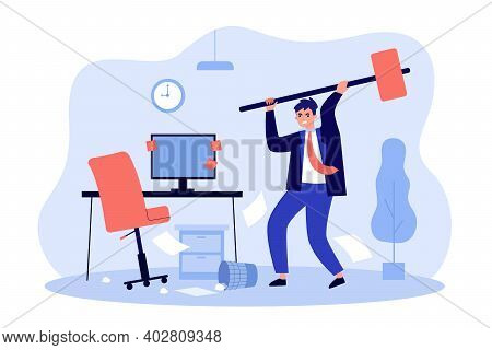 Angry Office Worker Destroying Personal Computer With Hammer Isolated Flat Vector Illustration. Cart