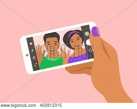 Modern Selfie Concept. Flat Vector Illustration. Young Couple Posing For Selfie And Holding Smart Ph