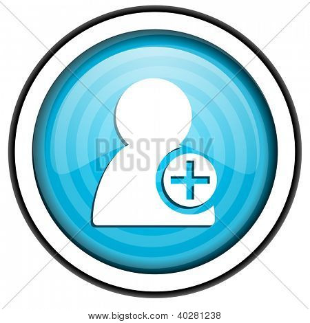 add contact blue glossy icon isolated on white background