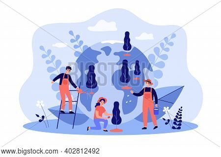 Smiling Tiny People Growing Trees Together Flat Vector Illustration. Cartoon Characters Planting For