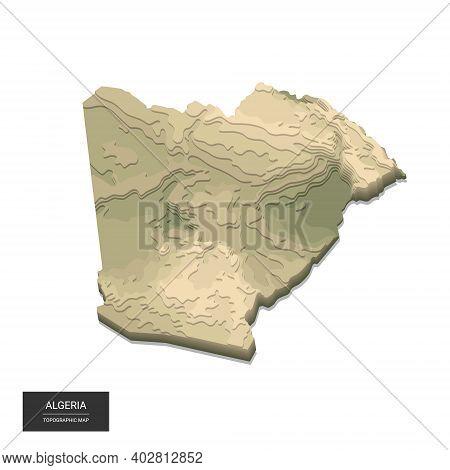 Algeria Map - 3d Digital High-altitude Topographic Map. 3d Vector Illustration. Colored Relief, Rugg