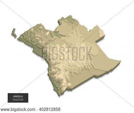 Angola Map - 3d Digital High-altitude Topographic Map. 3d Vector Illustration. Colored Relief, Rugge