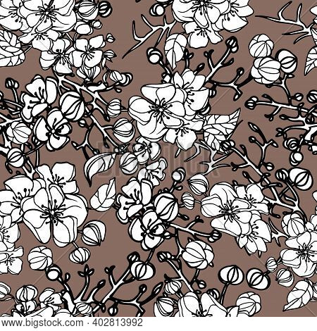 Seamless Pattern With Black And White Flowers On A Brown Background. Vector Illustration