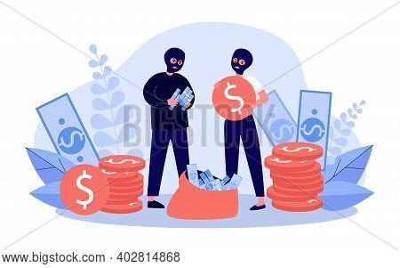 Bank Robbers Collecting Cash. Money, Sack, Bag, Couple In Balaclavas. Flat Vector Illustration. Robb