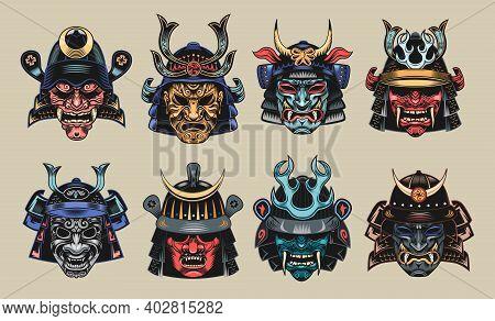 Japanese Samurai Masks Flat Illustration Set. Japan Traditional Vintage Warrior Or Fighter Clipart I