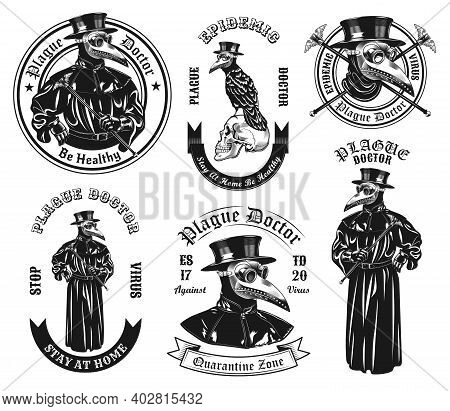 Monochrome Plague Doctor In Costume Vector Illustration Set. Vintage Ancient Physician In Overcoat A