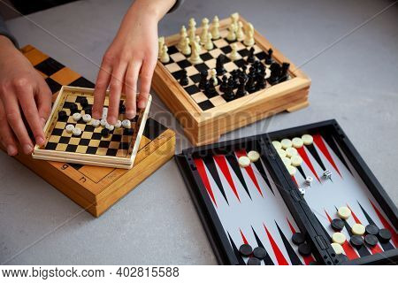 Board Games On The Table. Chess, Backgammon, Checkers. Boards Are Laid Out For The Game. Play, Have