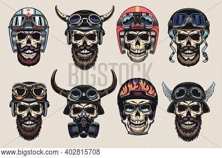 Colored Biker Skulls In Helmets Set. Motorcyclist Hats With Horns And Googles, Vintage Rock Symbols.