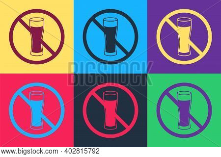 Pop Art No Alcohol Icon Isolated On Color Background. Prohibiting Alcohol Beverages. Forbidden Symbo