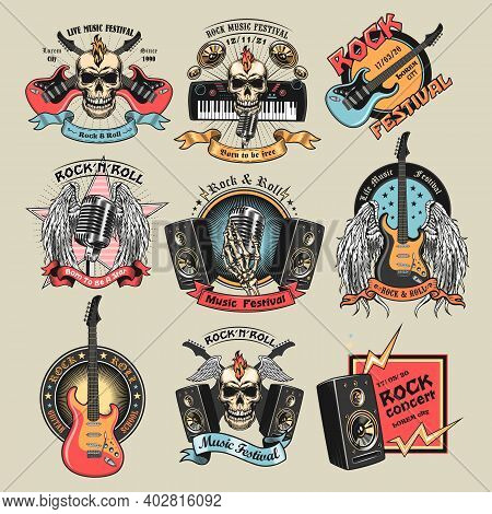Colorful Rock Music Emblems Set. Bright Badges With Skulls, Guitars, Microphone, Subwoofer Speakers