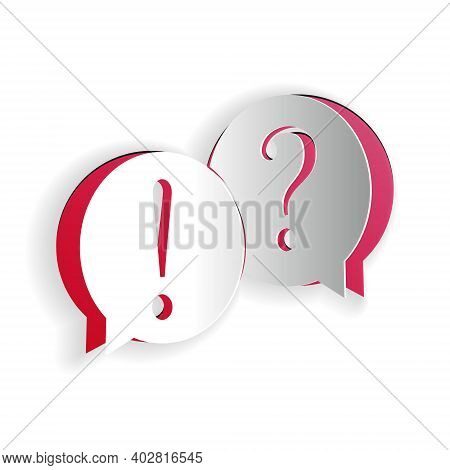 Paper Cut Speech Bubbles With Question And Exclamation Marks Icon Isolated On White Background. Faq