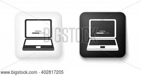 Black And White Laptop Update Process With Loading Bar Icon Isolated On White Background. System Sof