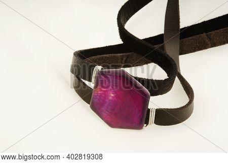 Leather Bracelet With Semi-precious Stone On Soft White Background