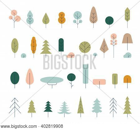 Flat Icon Tree Collection Isolated On White Background.green Forest.ecology Concept. Tree Icon. Gree
