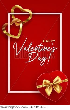 Valentine S Day Greeting Card Template. Vector Illustration With Heart Shaped Gift And Shining Foil